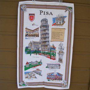 SOUVENIR Tea Towel, 35x22, Vintage PISA, Cotton